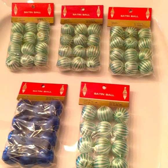 Lot of 60 assorted vintage tiny satin ornaments